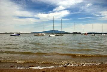 Sailoring boats on the lake