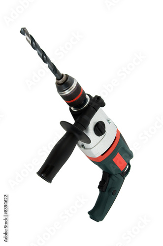 Electric drill isolated over white