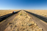 Truck delivery on Arizona I-40 highway across USA poster