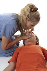 Emergency resuscitation on unconscious child