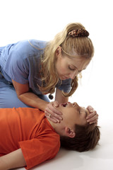 Nurse preparing child for resuscitation