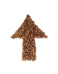 Coffee grains pointer isolated on white background