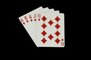 Casino Poker Playing Cards - Royal Flush, isolated on black