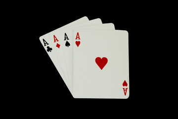 Casino Poker Playing Cards - Four Aces, isolated on black