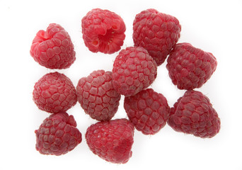raspberry himbeere on white