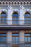 Restored historical building in Podil, Kiev, Ukraine poster
