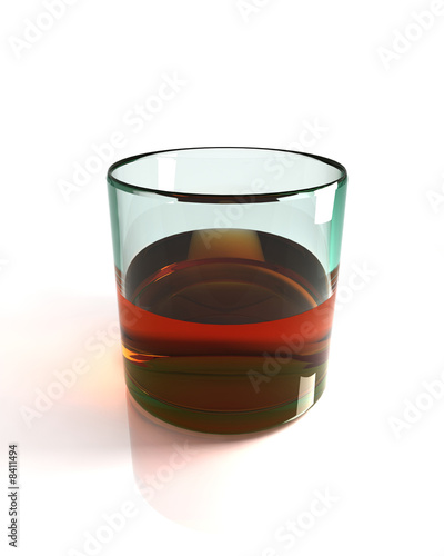 Glass of straight Bourbon Whisky isolated on white