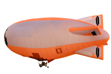 flying orange blimp