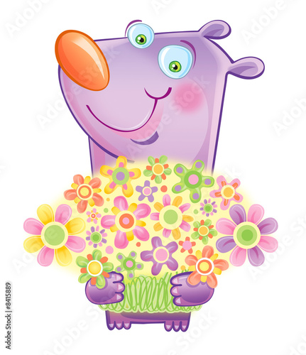 Smiling bear with flowers