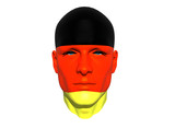3D man head flag textured