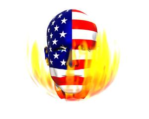 3D man head flag textured