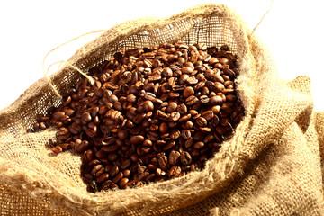 yellow sack of brown coffee