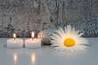 Margeritenblüte mit 2 Kerzen