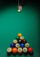 Balls on a pool (billard) table during play
