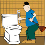 handyman or plumber fixing broken toilet poster