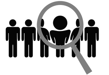 Magnifying Glass Chooses Inspects Man in Row of People