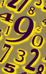 Numbers digits characters figures background color