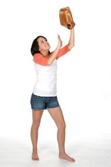 teenage girl holding softball glove