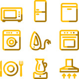 Home appliances icons, gold contour series