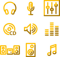 Sound icons, gold contour series