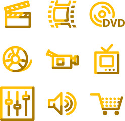 Video icons, gold contour series