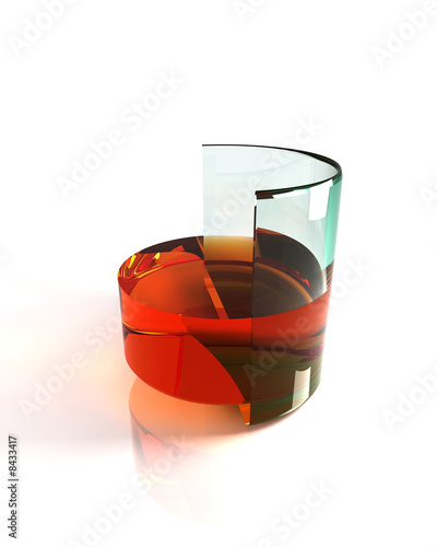 Half a glass of whisky - half full or empty concept