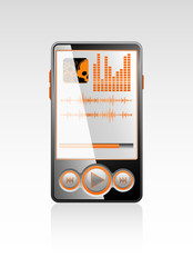 Vector stylish player with orange interface