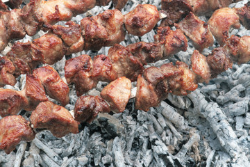 Barbecue grill meat in cooking process.