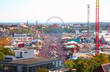 top view on park of attractions