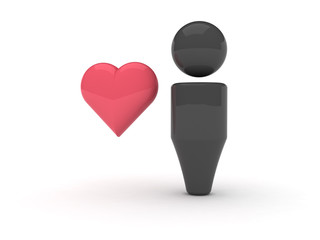 3d web icon - Favourites (Heart version)
