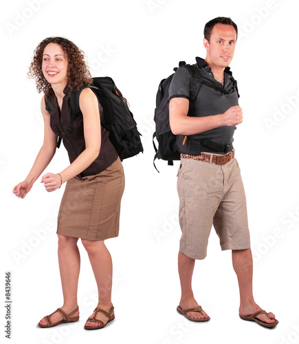 couple with backpacks