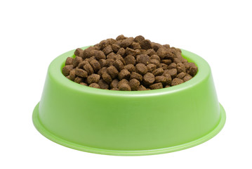Pet Food Bowl Isolated White on Background