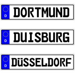 Dortmund, Duisburg, Düsseldorf - Autokennzeichen