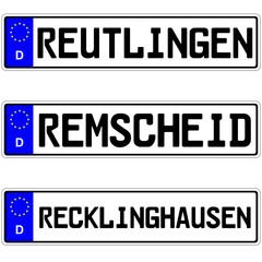 Reutlingen, Remscheid, Recklinghausen - Kennzeichen