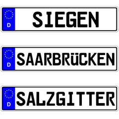 Siegen, Saarbrücken, Salzgitter - Kennzeichen