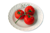Fresh tomatoes on a porcelain plate poster
