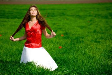 Beautiful girl in meadow