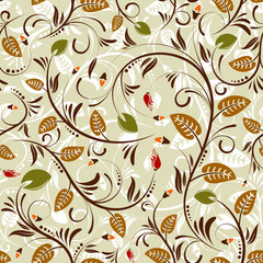 Flower seamless pattern with bud, element for design, vector