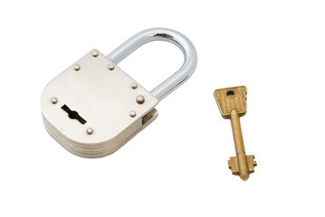 Closed Old Style Padlock with Key Isolated on White Background