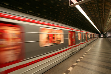 European Prague metro transit vehicle in motion