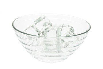 Ice Cubes in Glass Bowl