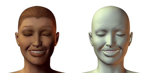 3D girl face with emotion