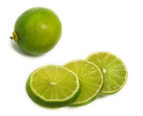 Sliced and unsliced lime