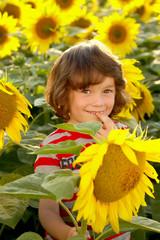 Kind zwischen Sonnenblumen niedlich