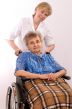 Health care worker and elderly woman in wheelchair needs help poster