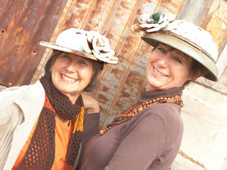 Two Mature ladies with tin hats