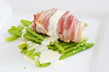 Angler fish with lemon mayonaise and asparagus