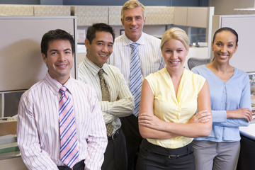 Business team standing in cubicle