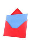 Open red envelope Isolated, white background, path provided. poster