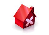 Maison rouge et avis défavorable (reflet) poster